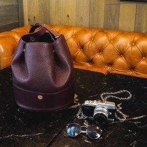 Dagne Dover Ava Bucket Bag in Oxblood